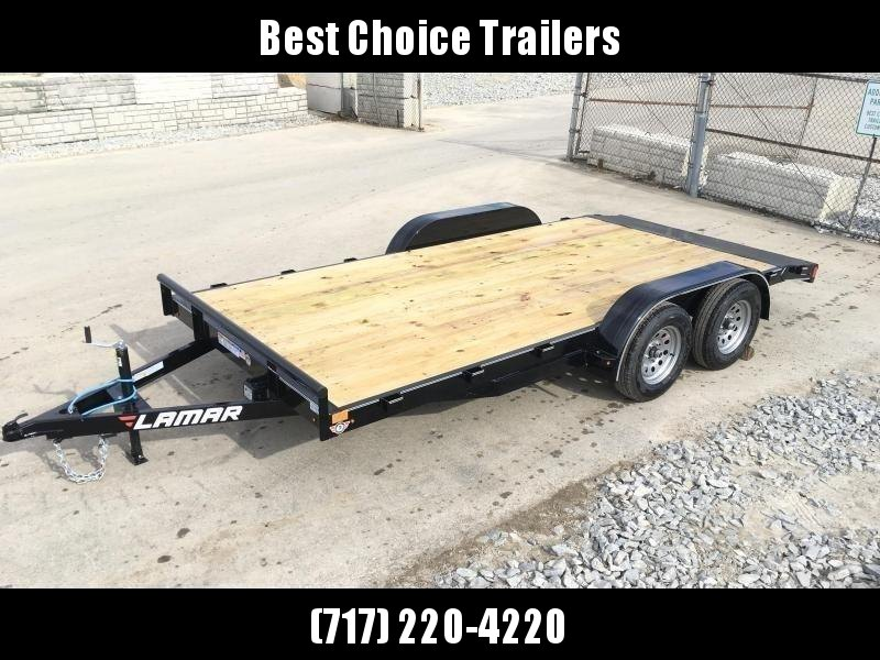 2018 Lamar 7x16 7000# Wood Deck Car Hauler Trailer * EXTRA STAKE POCKETS * CHARCOAL * STRAIGHT DECK
