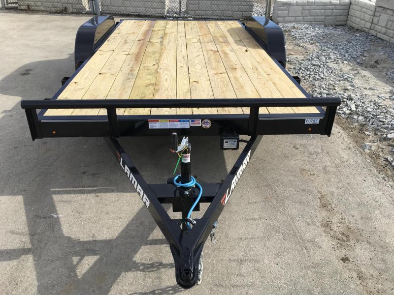 2018 Lamar 7x16 7000# Wood Deck Car Hauler Trailer * EXTRA STAKE POCKETS * CHARCOAL * STRAIGHT DECK