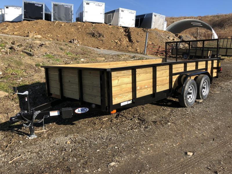 "2018 AMO 76""x16' Wood Side Utility Trailer 7000# GVW"
