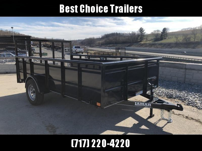 "2019 Lamar 77""x12' Steel High Side Utility Trailer 2990# GVW * PIPE TOP * 2' SOLID SIDES * DROP LEG JACK * CAST COUPLER * CHARCOAL * TUBE GATE"
