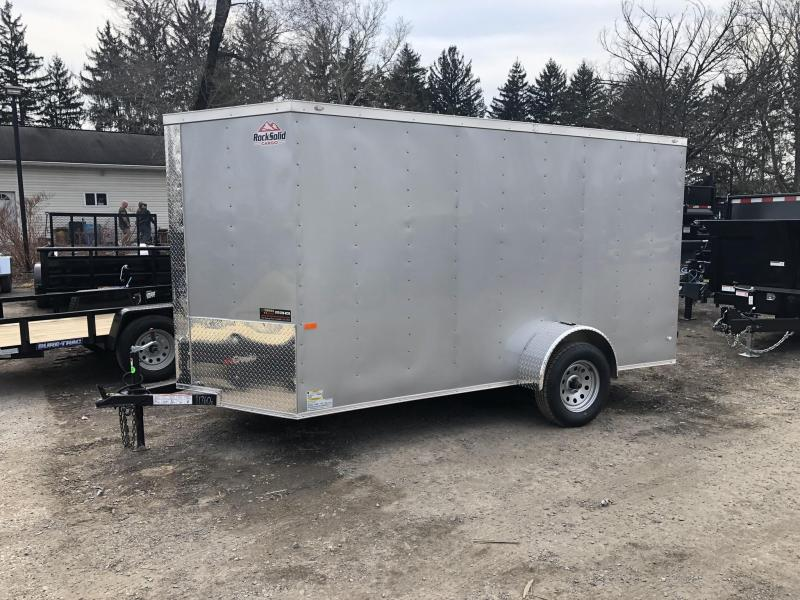 2019 Rock Solid 6x12' Enclosed Cargo Trailer 2990# GVW * SILVER * V-NOSE * RAMP