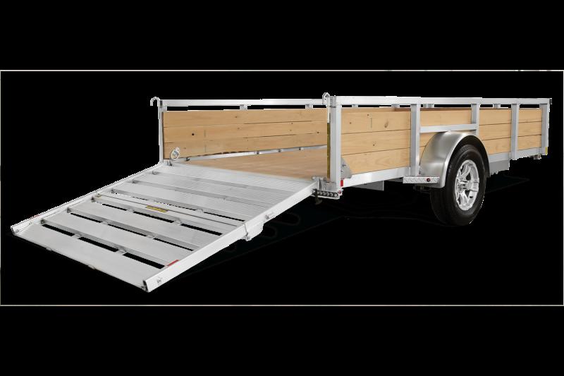 "2019 H&H 76""x12' Aluminum Wood High Side Utility Landscape Trailer 2990# GVW * BI FOLD GATE"