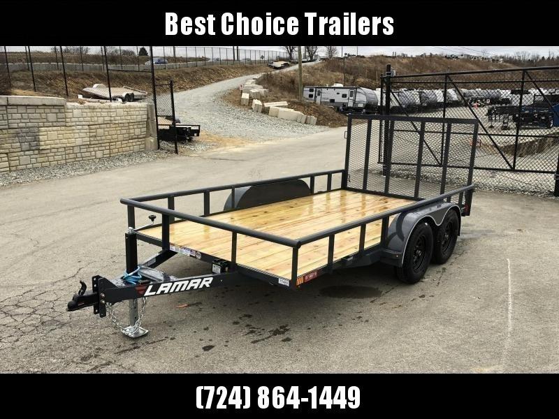 2019 Lamar 7x14' Utility Trailer 7000# GVW DELUXE * PIPE TOP * TUBE GATE * DROP LEG JACK * ADJUSTABLE COUPLER * CHARCOAL W BLACK WHEELS * SPRING ASSIST * FOLD IN GATE