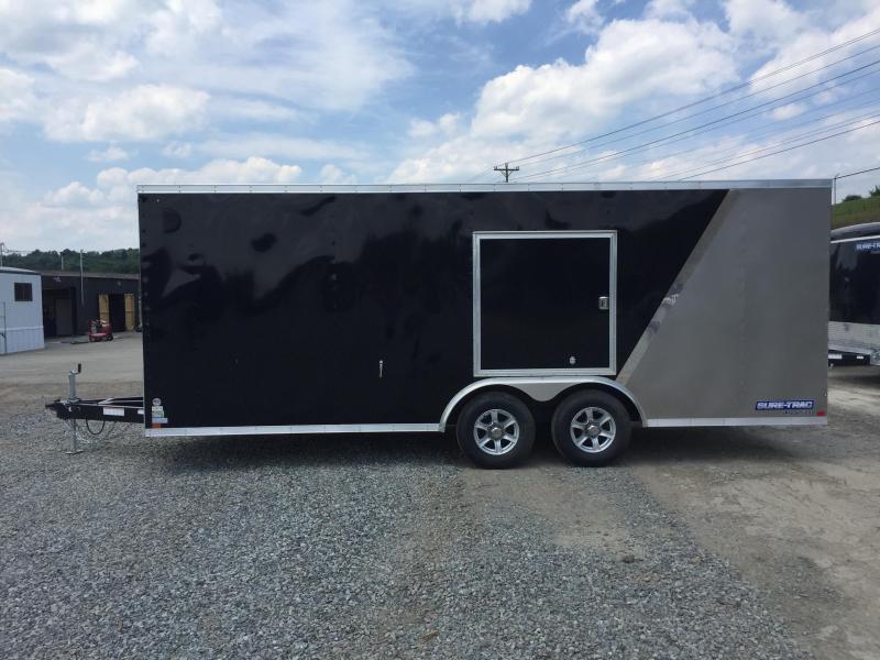 2017 Sure-Trac 8.5x20' 9900# STWCH Commercial Enclosed Car Hauler Trailer RAMP DOOR BLACK/PEWTER ALUMINUM WHEELS TORSION ESCAPE HATCH FINISHED FLOOR AND WALLS 2-TONE