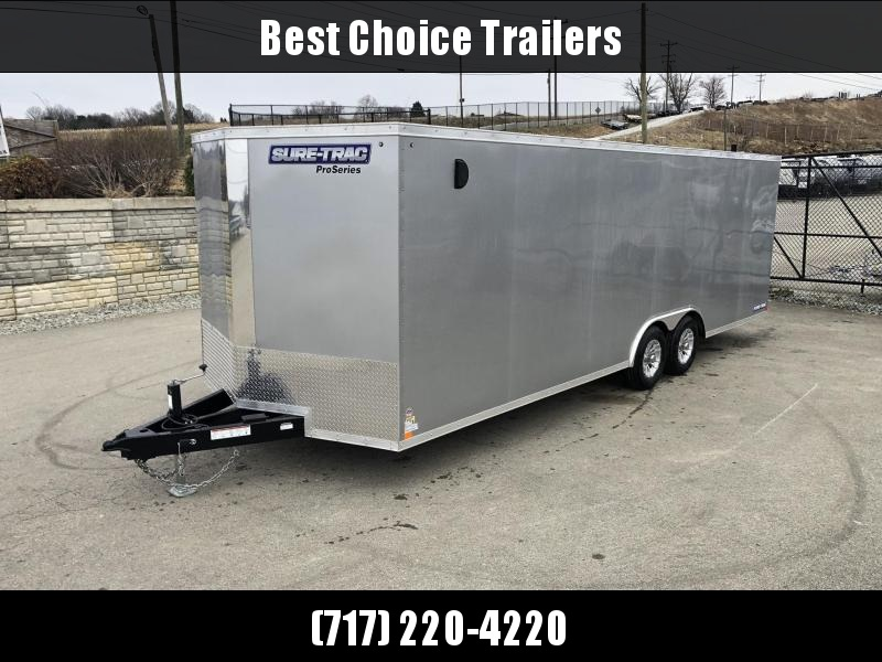 2019 Sure-Trac 8.5x24' Enclosed Car Trailer 9900# GVW * SILVER * 7K DROP LEG JACK * 7' HEIGHT UPGRADE