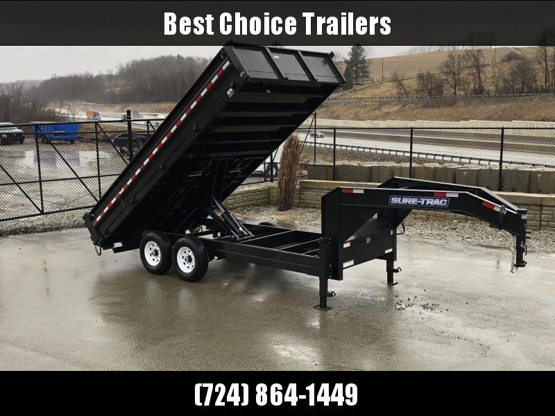 2019 Sure-Trac 8x16' HD Gooseneck Deckover Dump Trailer 14000# GVW * FOLD DOWN SIDES * I-BEAM NECK * FULL TOOLBOX