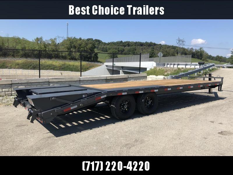 2019 Lamar F8 102x24' Beavertail Deckover Trailer 14000# GVW * FULL WIDTH RAMPS * CHARCOAL * FRONT TOOLBOX * OIL BATH HUBS