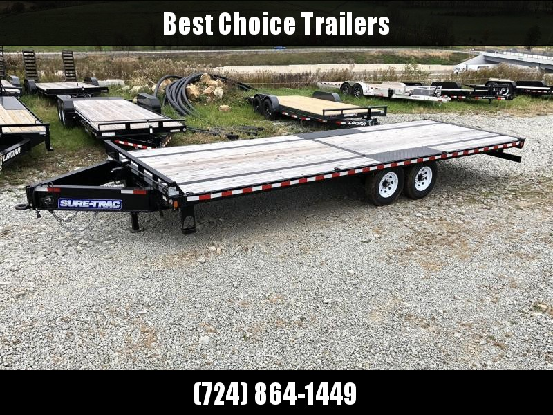 2017 Sure-Trac 102x25' 15000# GVW Flatbed Deckover Trailer * CLEARANCE - FREE ALUMINUM WHEELS