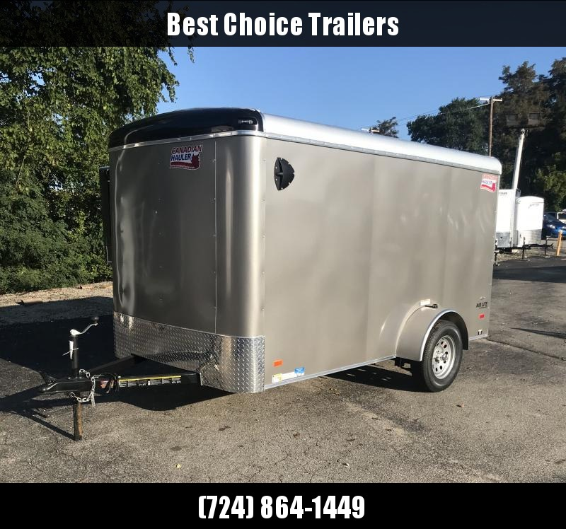 "2018 American Hauler 6x12' Enclosed Cargo Trailer 2990# GVW ALC612SA * PEWTER * RAMP DOOR * ROUND TOP * SCREWLESS * STABILIZER JACKS * 16"" O.C. FLOORS/WALLS/CEILING * CLEARANCE - FREE ALUMINUM WHEELS"