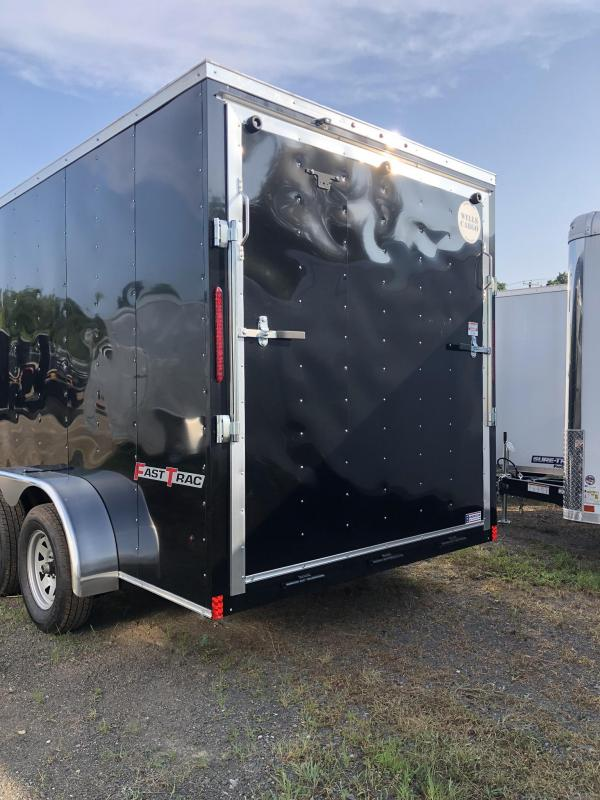 2019 Wells Cargo 7x14' Fastrac DELUXE Enclosed Cargo Trailer 7000# GVW * BLACK * RAMP DOOR * V-NOSE * .030 * 1 PC ALUM ROOF * 7' HEIGHT UPGRADE - UTV PACKAGE