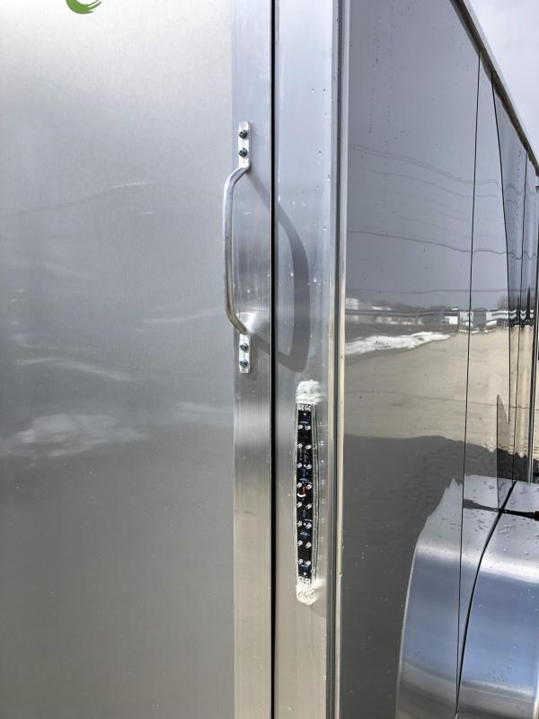 "2019 Neo 7x14 NAMR Aluminum Enclosed Motorcycle Trailer * VINYL WALLS * ALUMINUM WHEELS * +6"" HEIGHT * BLACK & SILVER"