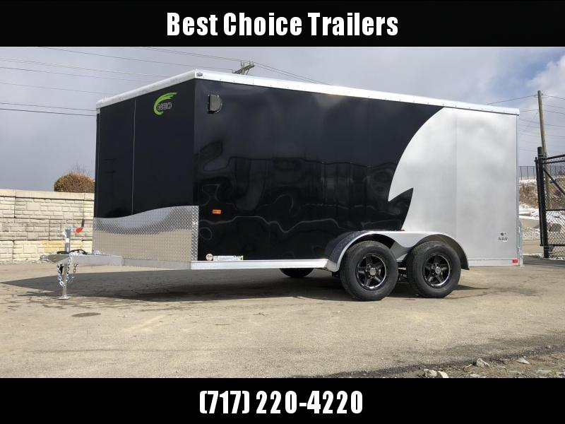 "2019 Neo 7x14 NAMR Aluminum Enclosed Motorcycle Trailer * VINYL WALLS * ALUMINUM WHEELS * +6"" HEIGHT * BLACK & SILVER"