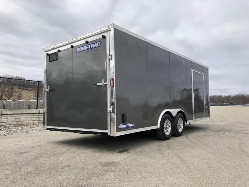 2019 Sure-Trac 8.5x20' Enclosed Car Trailer 9900# GVW * WHITE * 7K DROP LEG JACK