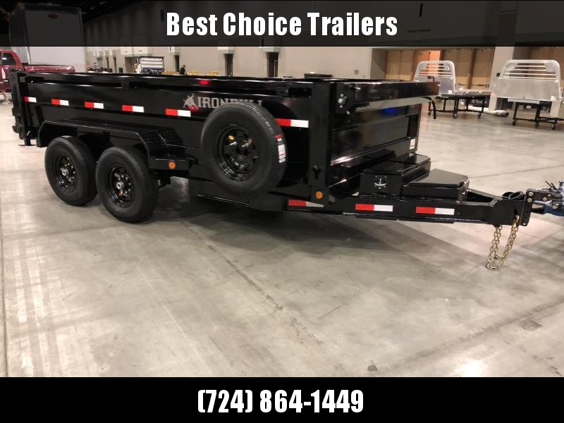 2018 Iron Bull 7x14' Dump Trailer 14000# GVW RAMPS * TARP * SCISSOR * BLACK WHEELS * 2ND BUTTERFLY TOOLBOX * SIDE STEP * STABILIZER JACKS * SPARE TIRE & MOUNT * 12K JACK