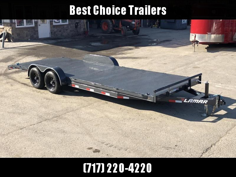 2019 Lamar 7x22' CC10 Car Trailer 9990# GVW * RUBRAIL * REMOVABLE FENDERS  * CHARCOAL POWDERCOATING * 7K DROP LEG JACK * STEEL DECK