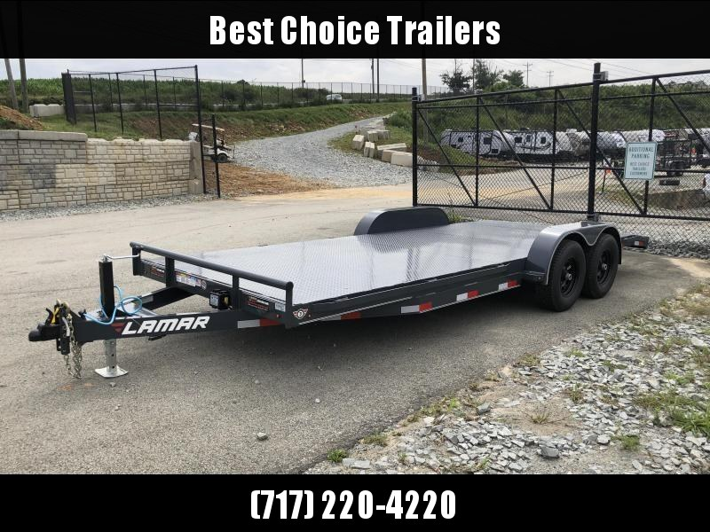 2019 Lamar 7X20' CC10 Car Trailer 9990# GVW * RUBRAIL * REMOVABLE FENDERS  * CHARCOAL POWDERCOATING * 7K DROP LEG JACK * STEEL DECK