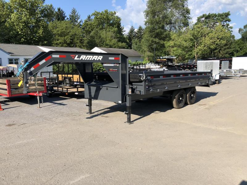 2018 Lamar 8x16' Gooseneck Deckover Dump Trailer 14000# GVW - FOLD DOWN SIDES * CHARCOAL * 14-PLY TIRE UPGRADE * MATCHING SPARE * REAR JACK STANDS * VOLTAGE METER * OIL BATH