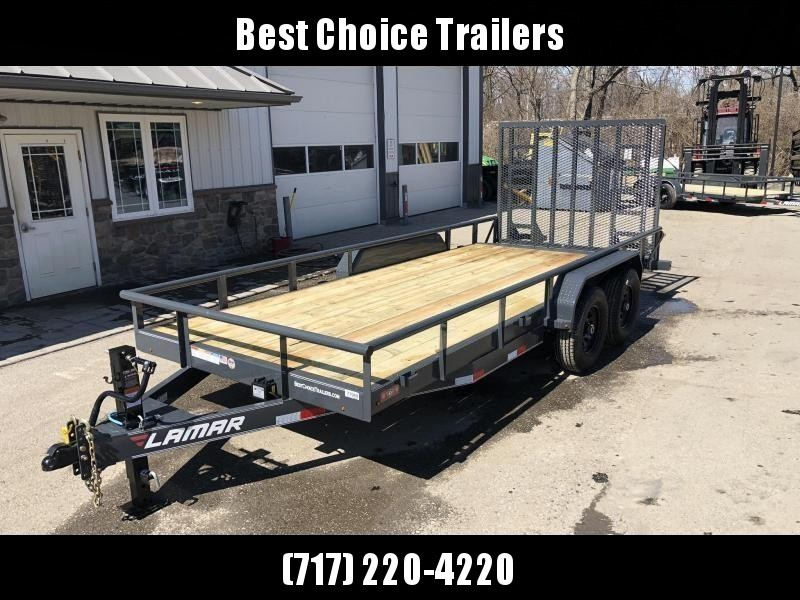 "2019 Lamar 7x18' Utility Trailer 9990# GVW * 5' HD RAMP W/ SPRING ASST * 16"" RUBBER * 12K JACK * 2' DOVE * PIPE TOP * CHARCOAL * 12K JACK"