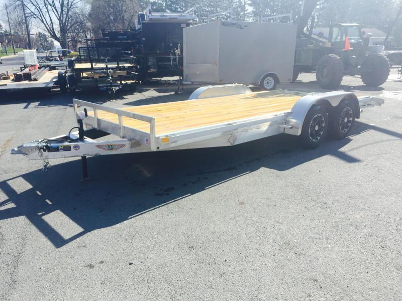 2018 H&H 7x18' Aluminum Car Hauler 7000# GVW ALUMINUM WHEELS HEAVY FRAME * SPARE MOUNT * EXTRUDED BEAVERTAIL * CLEARANCE