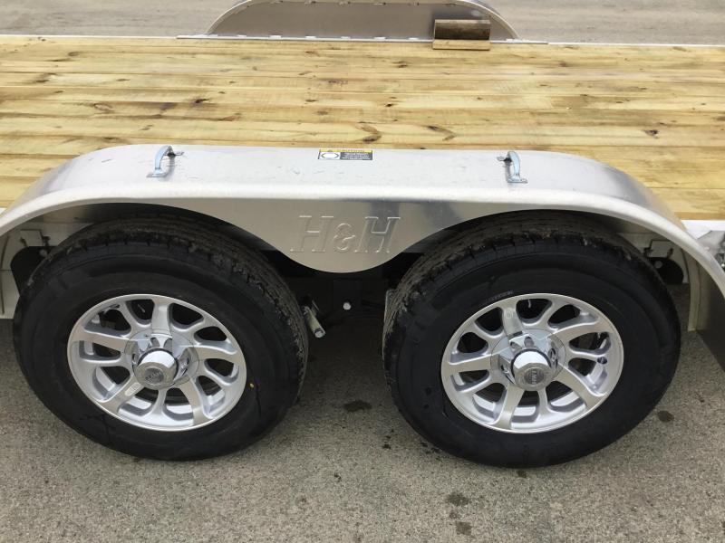 2018 H&H 7x20' Aluminum Manual Tilt Car Trailer 7000# GVW * TOOLBOX * SPARE MT * CLEARANCE - FREE ALUMINUM SPARE