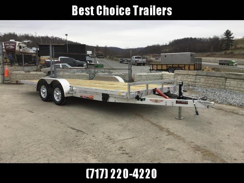 2018 H&H 7x20' Aluminum Manual Tilt Car Trailer 7000# GVW * TOOLBOX * SPARE MT * CLEARANCE - FREE ALUMINUM SPARE