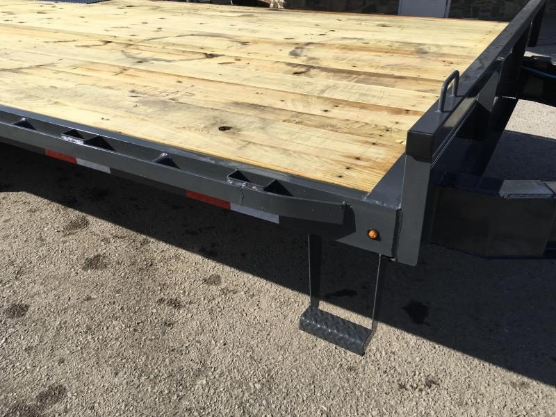 2019 Lamar F8 102x20' Beavertail Deckover Trailer 14000# GVW * STAND UP RAMPS  * CHARCOAL