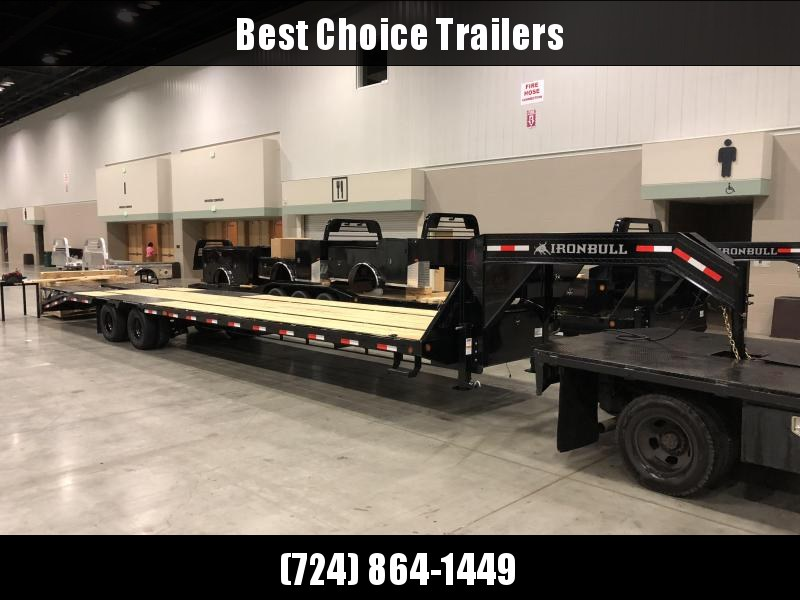 2018 Ironbull 102x33+5' Gooseneck Beavertail Deckover Flatbed 24000# * FULL WIDTH RAMPAGE RAMPS * PIERCED FRAME * 12K AXLES * UNDER FRAME BRIDGE * TORQUE TUBE * BLACK WHEELS