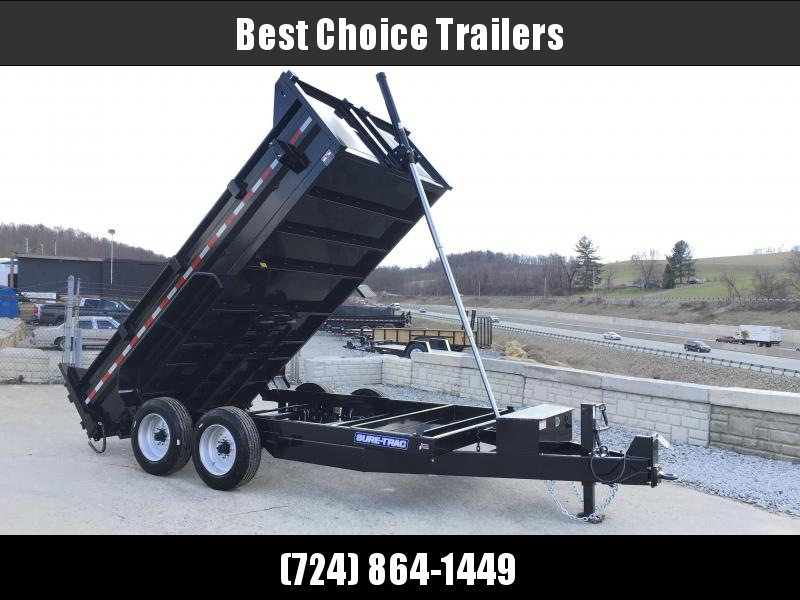 2018 Sure-Trac 7x14' LowPro HD Dump Trailer 16000# GVW * 8K AXLE UPGRADE * TELESCOPIC HOIST