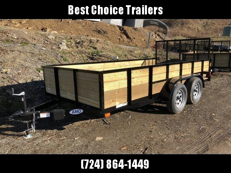 "2018 AMO 76""x14' Wood High Side Angle Iron Utility Landscape Trailer 7000# GVW"