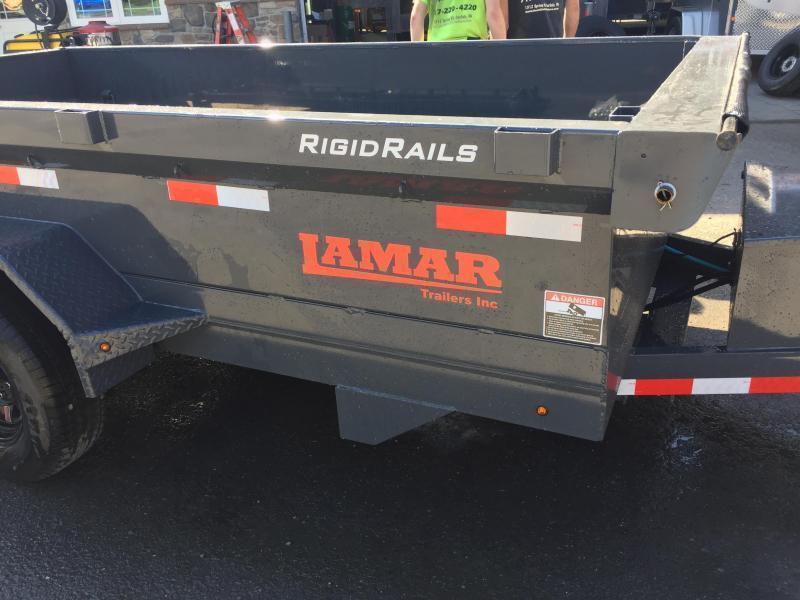 2019 Lamar DM 77x12' 9990# Low Profile Dump Trailer * DELUXE TARP KIT * ADJUSTABLE COUPLER * CHARCOAL  * SPARE MT