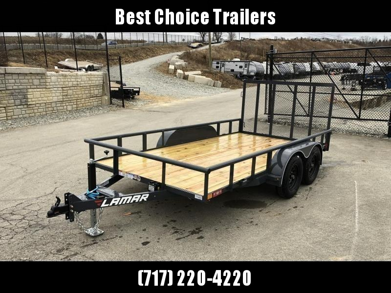 2019 Lamar 7x14' Utility Trailer 7000# GVW DELUXE * PIPE TOP * TUBE GATE * DROP LEG JACK * ADJUSTABLE COUPLER * CHARCOAL W BLACK WHEELS * SPRING ASSIST * FOLD IN GATE in Ashburn, VA
