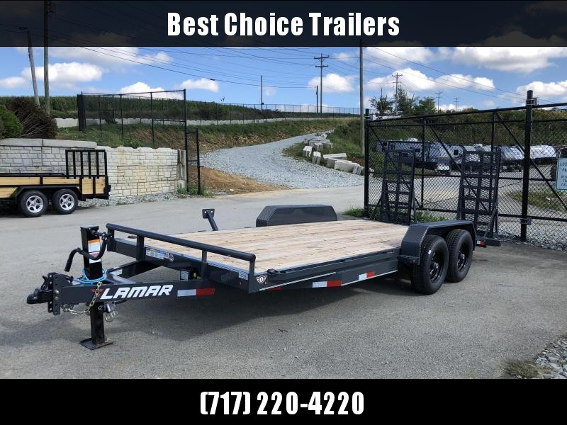 2018 Lamar 7x18' CC10 Equipment Trailer 9990# GVW - CHARCOAL * DELUXE RAMPS * 12K DROPLEG JACK