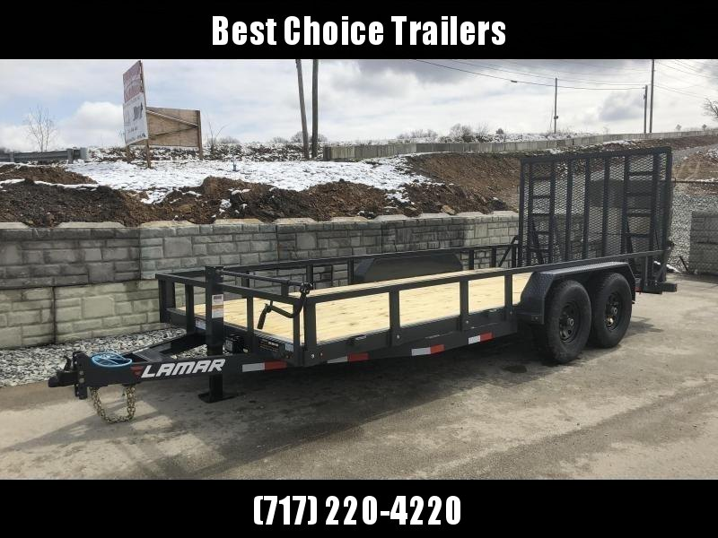 "2018 Lamar 7x18' Utility Trailer 9990# GVW * 5' HD RAMP W/ SPRING ASST * 16"" RUBBER * 12K JACK * 2' DOVE * TUBE TOP * 7000# AXLES"