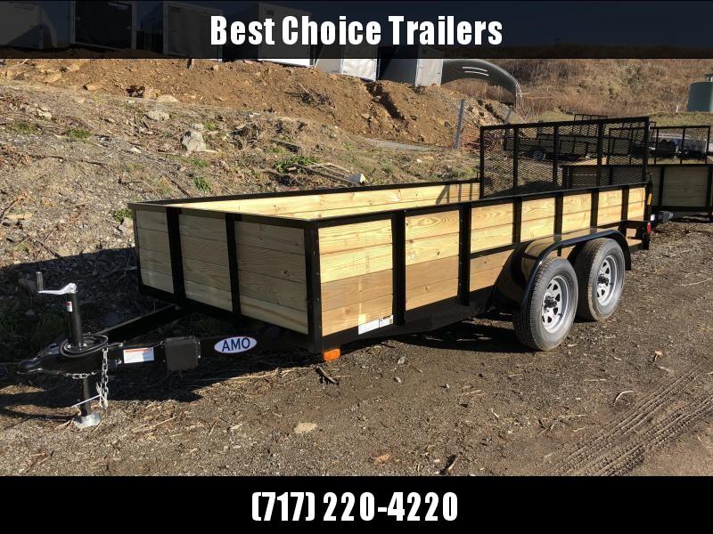 """2018 AMO 76""""x14' Wood Side Utility Trailer 7000# GVW"""