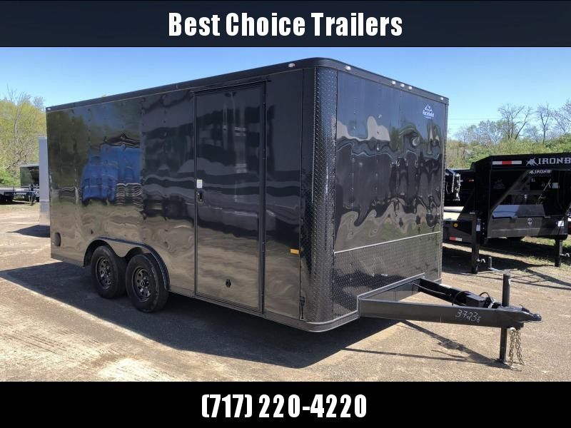 2019 Rock Solid 8x16' Enclosed Car Hauler Trailer 7000# GVW RS816TA * BLACKOUT * ATP FENDERS * V-NOSE * RAMP DOOR
