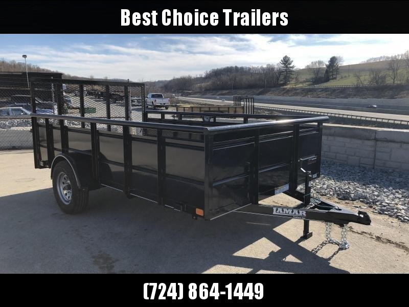 "2018 Lamar 77""x12' Steel High Side Utility Trailer 2990# GVW * PIPE TOP * 2' SOLID SIDES * DROP LEG JACK * CAST COUPLER * CHARCOAL * TUBE GATE in Ashburn, VA"