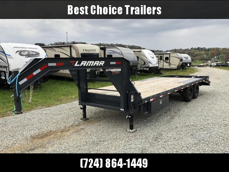 2018 Lamar 102x19+5' Gooseneck Beavertail Deckover Trailer 16000# GVW * 8000# AXLE UPGRADE * CHARCOAL POWDERCOAT * SIDE TOOLBOX * 3 FLIPOVER RAMPS