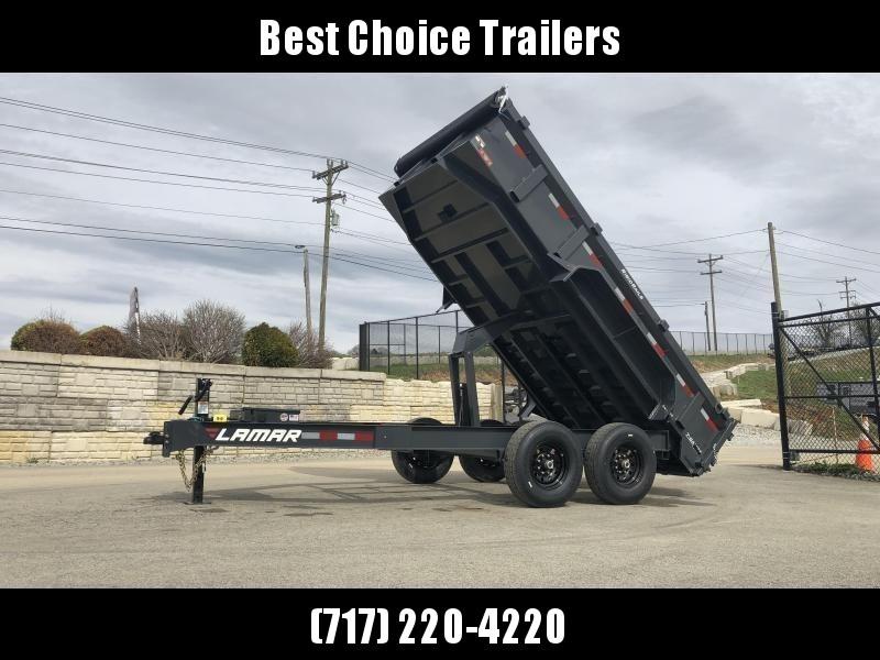 "2019 Lamar 7x14' Dump Trailer 14000# GVW * 14-PLY RUBBER * TARP * 12K JACK * SPARE MOUNT * 7 GAUGE * SCISSOR * CHARCOAL * 12"" O.C. FLOOR"
