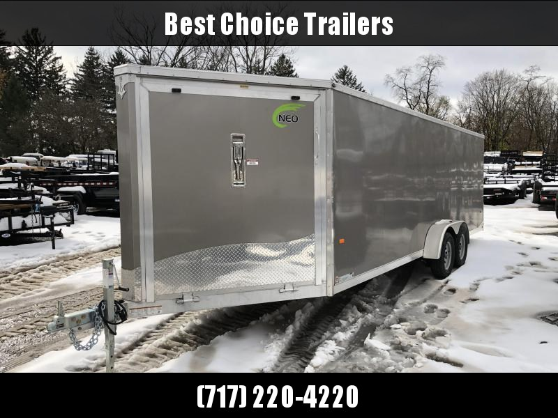 """2019 Neo 7x26' Aluminum Enclosed Snowmobile All-Sport Trailer * 4-PLACE * PEWTER * FRONT RAMP * NXP LATCHES * FLOOR TIE DOWN SYSTEM * REAR JACKSTANDS * UPGRADED 16"""" OC FLOOR * UPPER CABINET"""
