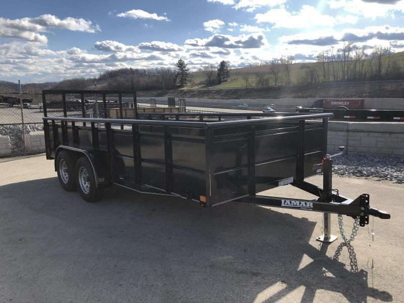 2019 Lamar 7x16' Utility Trailer 7000# GVW * 2' STEEL HIGH SIDES *  PIPE TOP * ADJUSTABLE COUPLER * DROP LEG JACK * TIE DOWN RAIL * CHARCOAL * TUBE GATE