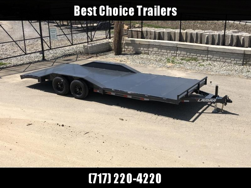 "2019 Lamar 102x22' CC10 Car Trailer 9990# GVW * 102"" DECK * DRIVE OVER FENDERS * STEEL DECK * CHARCOAL POWDERCOATING * 7K DROP LEG JACK"