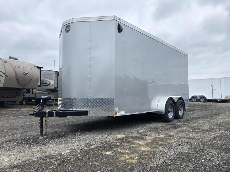 2019 Wells Cargo 7x16' Fastrac DELUXE Enclosed Cargo Trailer 7000# GVW * SILVER * RAMP DOOR * V-NOSE * 7' HEIGHT UTV PACKAGE