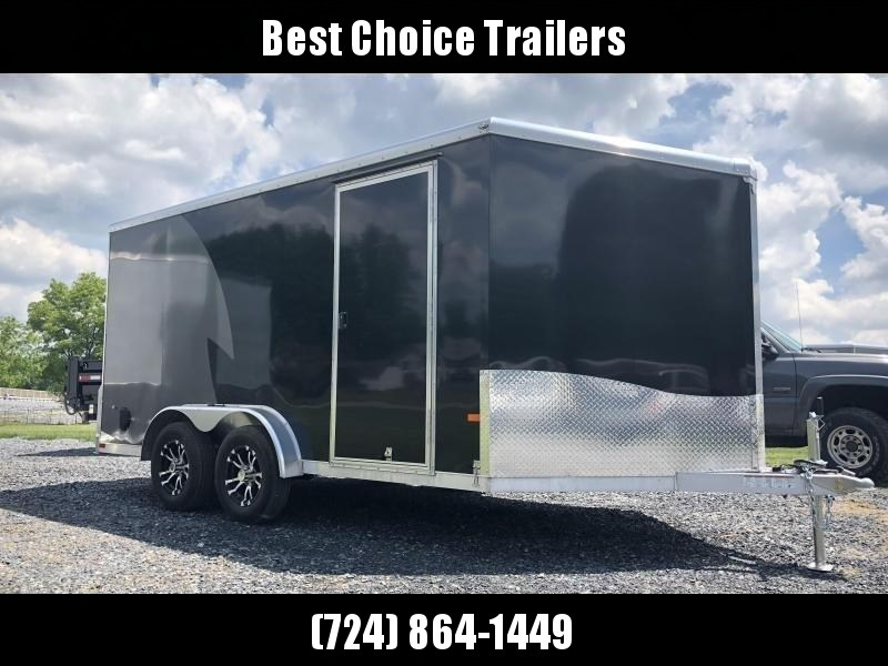 "2019 Neo 7x14 NAMR Aluminum Enclosed Motorcycle Trailer * BLACK & CHARCOAL * WHITE WALLS * ALUMINUM WHEELS * +6"" HEIGHT * NUDO FLOOR & RAMP"