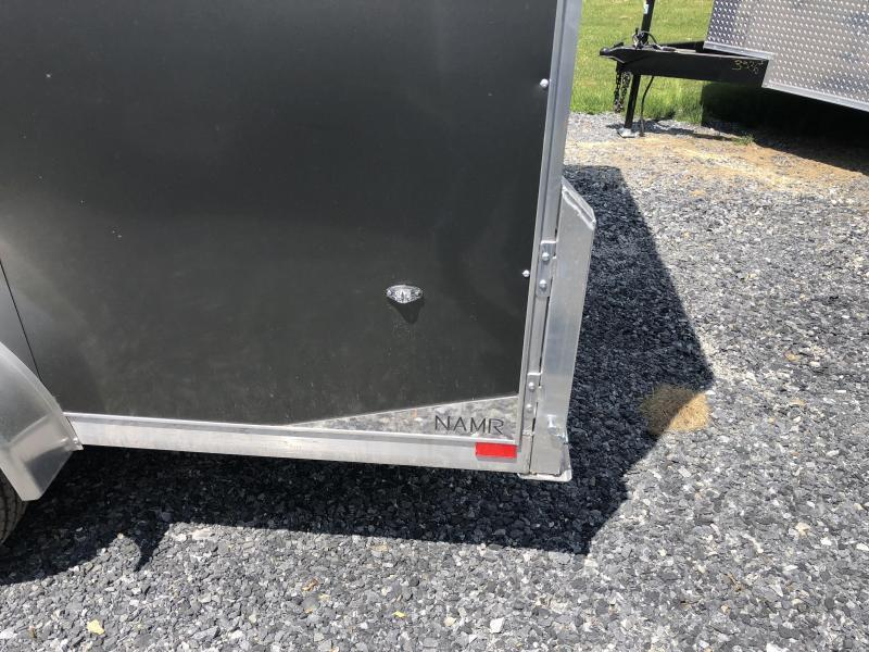 "2019 Neo 7x14 NAMR Aluminum Enclosed Motorcycle Trailer * BLACK & CHARCOAL * WHITE WALLS * ALUMINUM WHEELS * +6"" HEIGHT * NUDO FLOOR & RAMP"