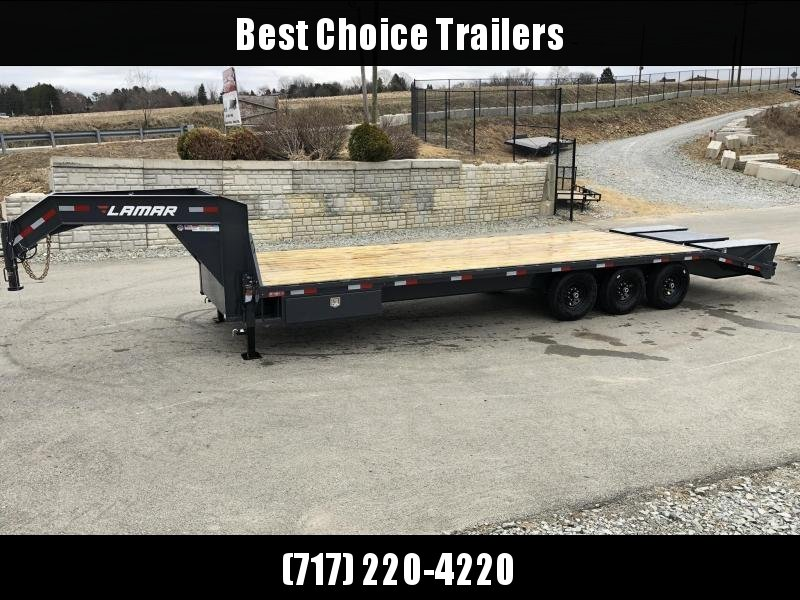 "2019 Lamar 102x23+5' Gooseneck Beavertail Deckover Trailer 21000# * 2 FLIPOVER RAMPS + POP UP DOVE * SIDE TOOLBOX * CHARCOAL * 12"" BEAM * FRONT TOOLBOX / DUAL JACKS"