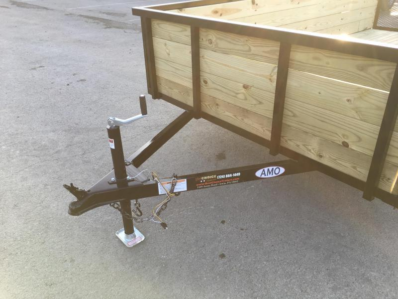 "2019 AMO 78""x12' Wood HIGH SIDE Angle Iron Utility Landscape Trailer 2990# GVW * 4-BOARD HIGH SIDE"