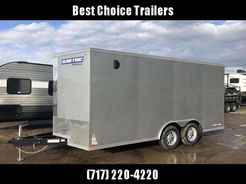 2019 Sure-Trac 8.5x16' Enclosed Cargo Trailer 9900# GVW * SILVER * CONTRACTOR/LANDSCAPER TRAILER