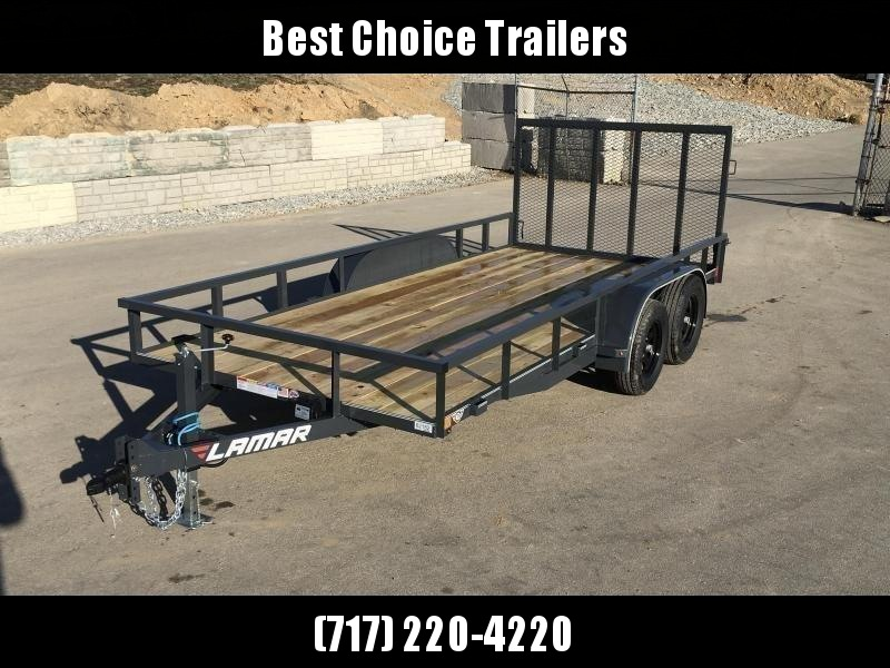 2019 Lamar 7x16' Tube Top Utility Landscape Trailer 7000# GVW DELUXE * PIPE TOP * TUBE GATE * DROP LEG JACK * ADJUSTABLE COUPLER * CHARCOAL