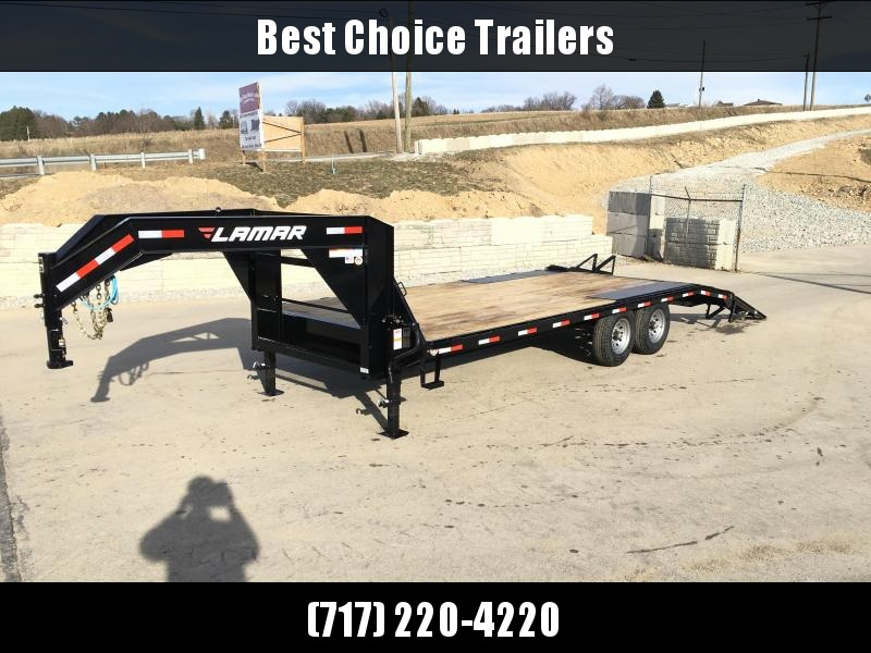 2018 Lamar 102x18+4' Gooseneck Beavertail Deckover Trailer 14000# STAND UP RAMPS * CLEARANCE - FREE ALUMINUM WHEELS