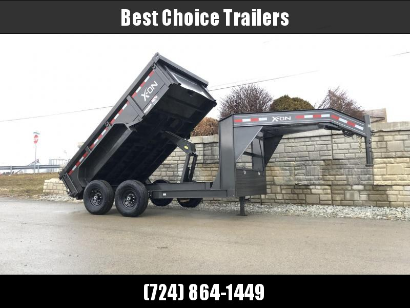 2019 X-on 7x12' Low Profile Gooseneck Dump Trailer 14000# GVW * 7 GA FLOOR * TARP KIT * SCISSOR * 3 WAY GATE * I-BEAM FRAME & NECK * FRONT TOOLBOX